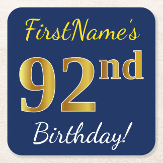Blue, Faux Gold 92nd Birthday + Custom Name Square Paper Coaster
