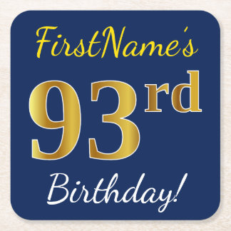 Blue, Faux Gold 93rd Birthday + Custom Name Square Paper Coaster