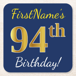 Blue, Faux Gold 94th Birthday + Custom Name Square Paper Coaster