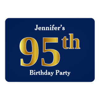 Blue, Faux Gold 95th Birthday Party + Custom Name Card