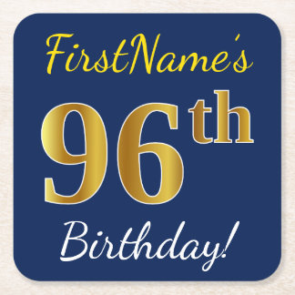 Blue, Faux Gold 96th Birthday + Custom Name Square Paper Coaster