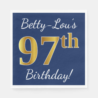 Blue, Faux Gold 97th Birthday + Custom Name Disposable Serviette