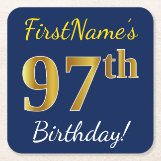 Blue, Faux Gold 97th Birthday + Custom Name Square Paper Coaster