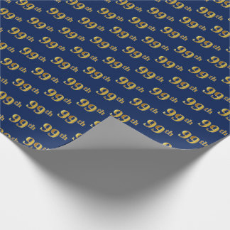 Blue, Faux Gold 99th (Ninety-Ninth) Event Wrapping Paper