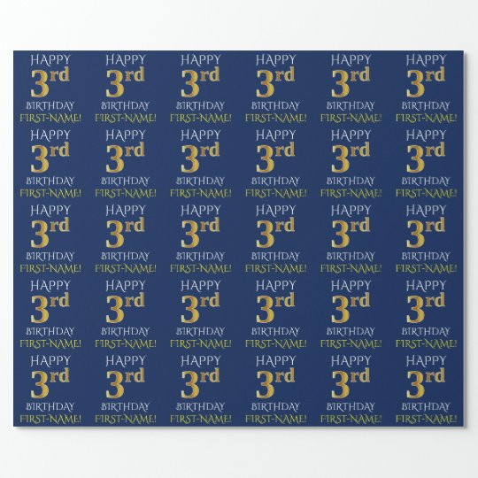"Blue, Faux Gold ""HAPPY 3rd BIRTHDAY"" Wrapping Paper"