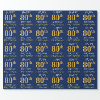 "Blue, Faux Gold ""HAPPY 80th BIRTHDAY"" Wrapping Paper"
