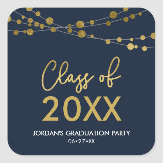 Blue Faux Gold Lights Class of 2018 Grad Party Square Sticker