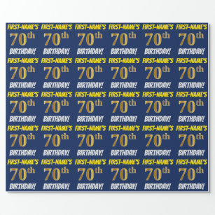 Blue Faux Imitation Gold 70th BIRTHDAY Wrapping Paper
