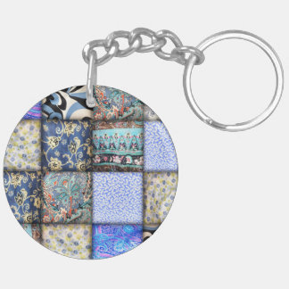 Blue Faux Patchwork Quilting Pattern Double-Sided Round Acrylic Key Ring