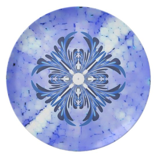 Blue Feather Fractal Plate