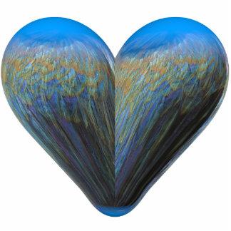 blue feather heart photo sculpture decoration
