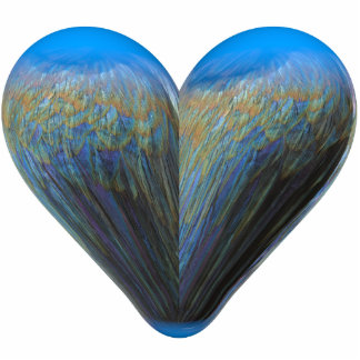 blue feather heart acrylic cut out