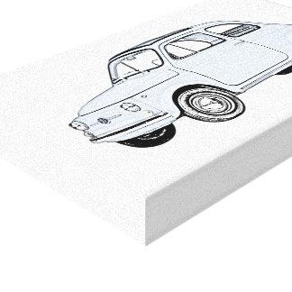 Blue Fiat 500 Topolino Pencil Style Drawing Canvas Print