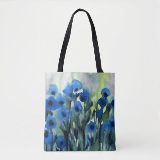 'Blue Field of Flowers' Abstract Watercolor Tote Bag