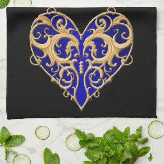 Blue Filigree Heart Kitchen Towel