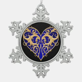Blue Filigree Heart Snowflake Ornament