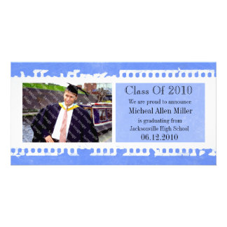 Blue Film Grunge Graduation Photo Card