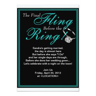 Blue Final Fling Bachelorette Party Invitation