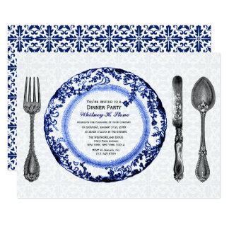Blue Fine Dining Dinner Party Card