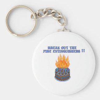 Blue Fire Extinguishers Birthday Cake Basic Round Button Key Ring