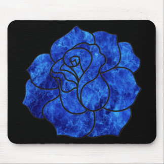 Blue Fire Rose Mouse Pad