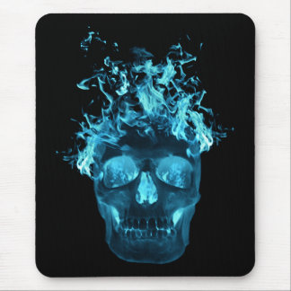 Blue Fire Skull Mouse Pad