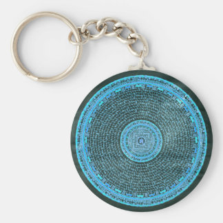Blue Fire Tibetan Mandala Art (Turquoise & Black) Basic Round Button Key Ring