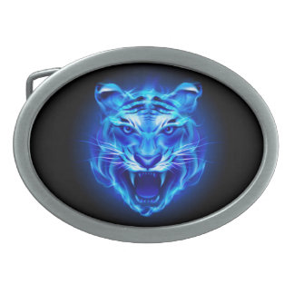 Blue Fire Tiger Face Oval Belt Buckle