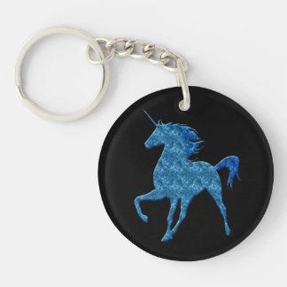 Blue Fire Unicorn Key Chain