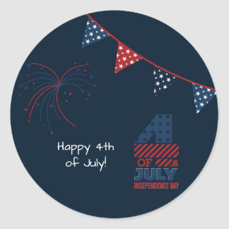 Blue Fireworks 4th of July Personalized Classic Round Sticker