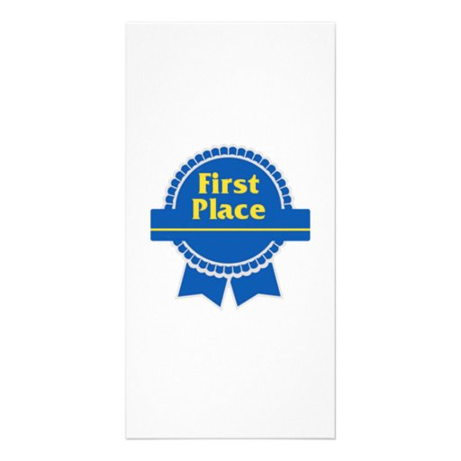 Blue First Place Ribbon Picture Card