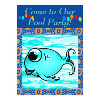 Blue Fish 14 Cm X 19 Cm Invitation Card