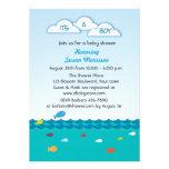 Blue Fish Baby Boy Shower Custom Invites