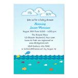 Blue Fish Baby Boy Shower Invites
