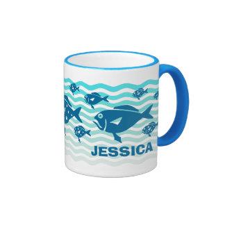 Blue fish in turquoise waves coffee mug