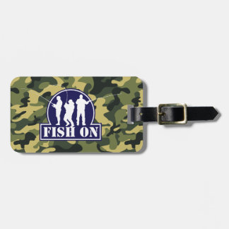 "Blue ""Fish On"" fishing logo on green camouflage, Luggage Tag"