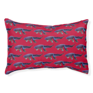 blue fish on pink dog bed