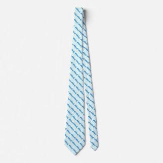 blue fish pattern tie