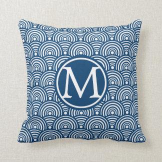 Blue Fish Scales Monogram Throw Pillow