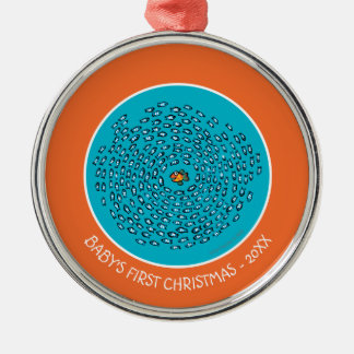 Blue Fish School Pattern with Small Orange Fish Silver-Colored Round Decoration