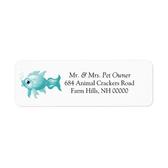 Blue Fish Theme Return Address Labels Stickers