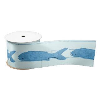 Blue fish Thunder_Cove white Satin Ribbon