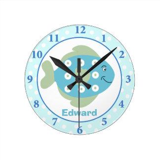 Blue Fish Under The Sea Wall Clock