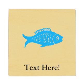 Blue Fish Wood Coaster