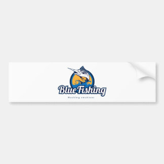 Blue Fishing Bumper Sticker