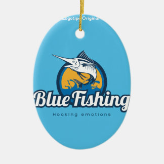 Blue Fishing Products Ceramic Oval Decoration