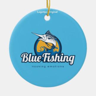 Blue Fishing Products Round Ceramic Decoration