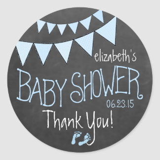 Blue Flag Bunting on Chalkboard Look Baby Shower Classic Round Sticker