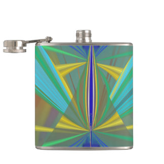Blue Flame 2 Abstract in Blues Hip Flask
