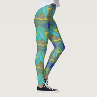 Blue Flame 2 Abstract in Blues Leggings